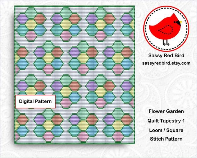 Loom / Square Stitch - Flower Garden Quilt Tapestry 1 & 2 Pattern