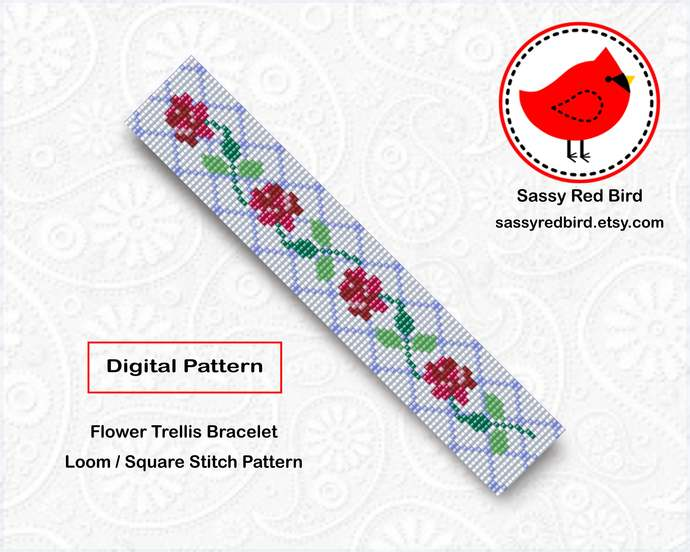 Loom / Square Stitch - Flower Trellis Bracelet Pattern