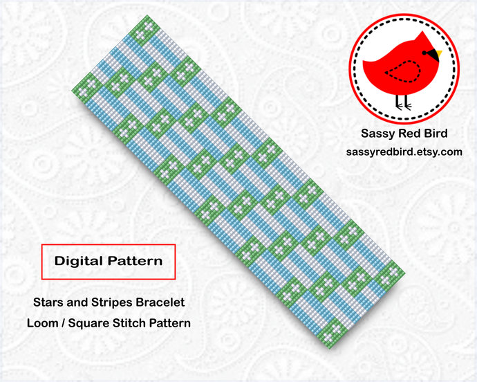 Loom / Square Stitch - Stars and Stripes Bracelet Pattern