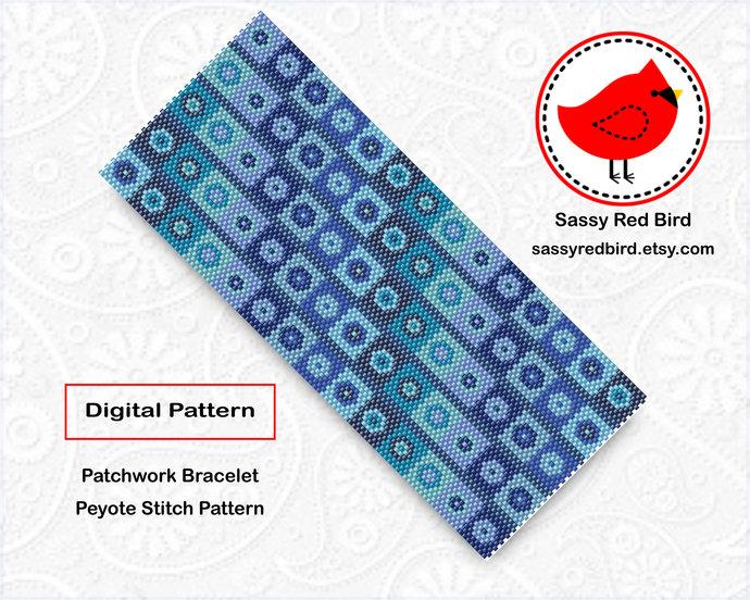 Peyote Stitch - Patchwork Bracelet Pattern