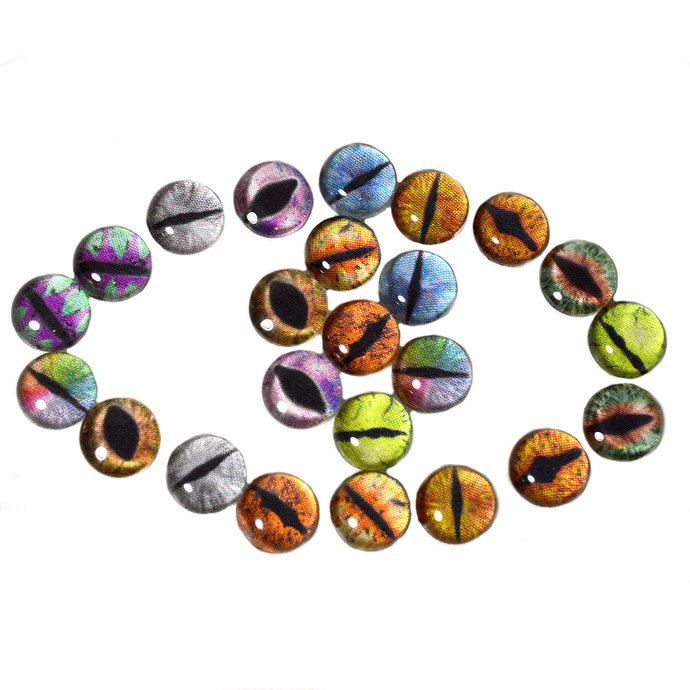 Wholesale Dragon Glass Eyes 12 Pairs 8mm Bulk Cabochons Fantasy Art Doll Jewelry