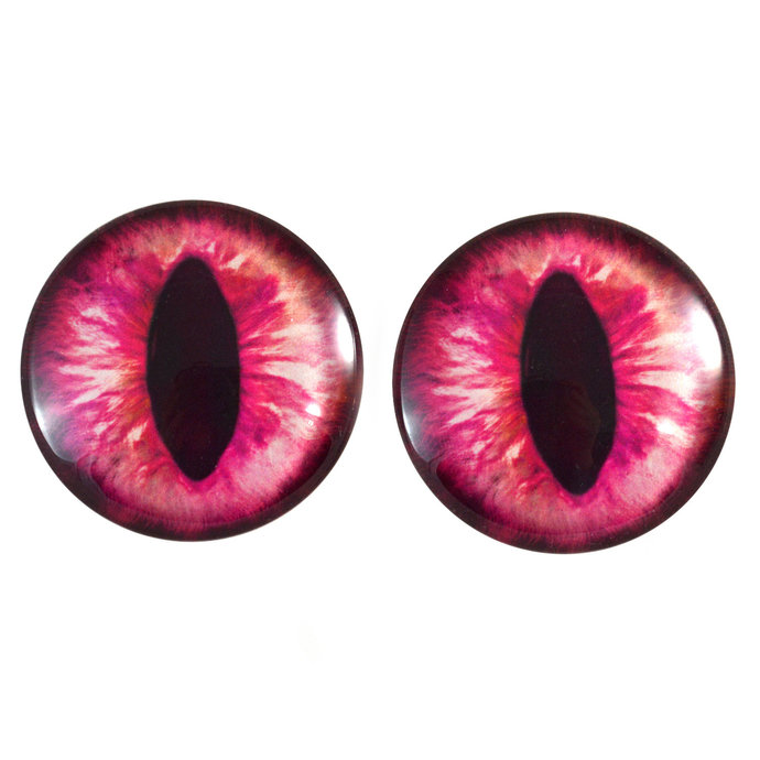 Hot Pink Cat Glass Eyes - Pick Your Size - Jewelry Making Art Dolls Taxidermy