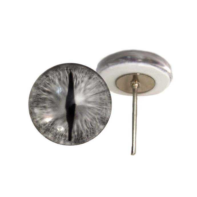 Silver Dragon Glass Eyes On Wire Pin Posts for Felt Doll Making and Other Crafts