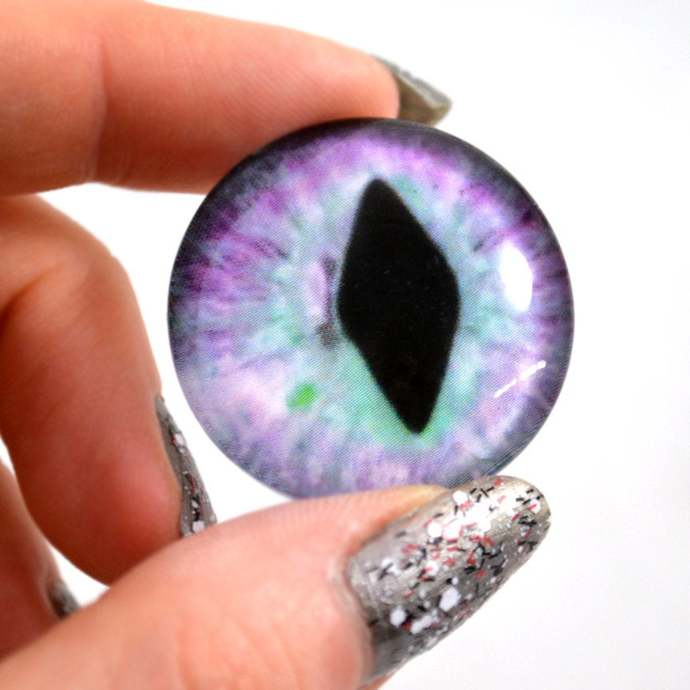Pastel Purple and Blue Cat or Dragon Glass Eyes - Multiple Sizes - Jewelry