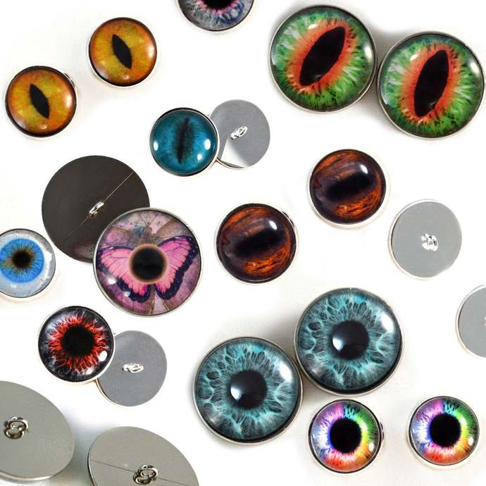 Sew On Wholesale Glass Eyes Overstock Lot 20 Buttons in Random Designs, Size 16m