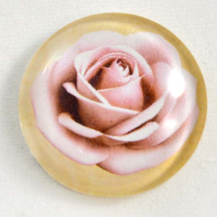 Rose Cabochon, Pink Rose, 25mm Glass Cabochon, 1 inch Cabochon, Jewelry Making,