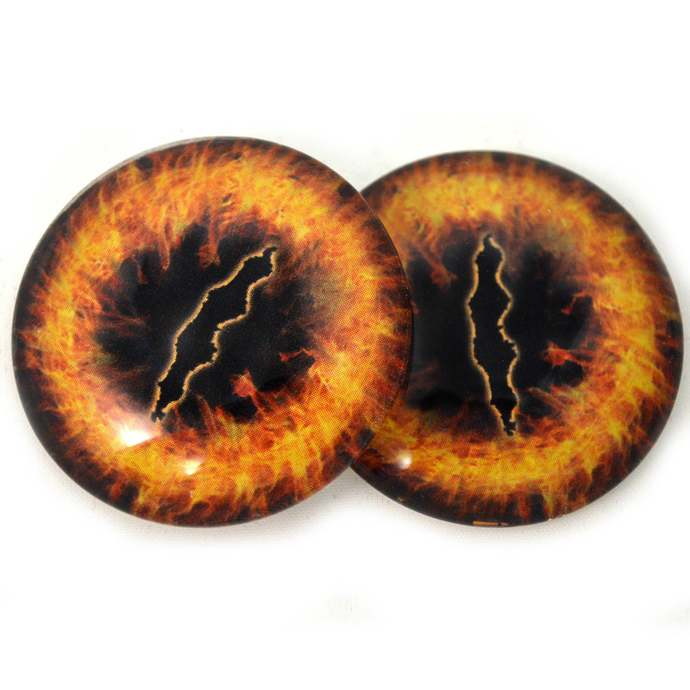 Ring of Fire Dragon Glass Eyes - Pick Your Size - for Jewelry Making, Art Dolls,