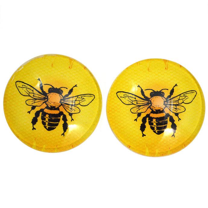 Yellow Honey Maker Bee Cabochons  - 6mm to 40mm - Jewelry Making Art Dolls Bug