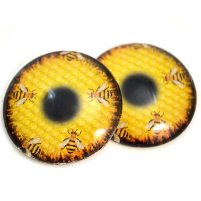 Honeycomb Honey Bees Glass Eyes - 6mm to 40mm - Jewelry Making Art Dolls Bug