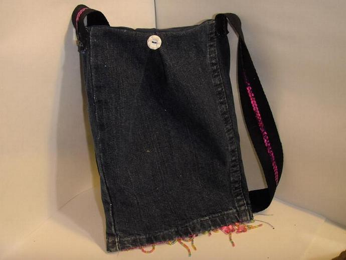 Upcycled Jean bag- perfect for Kindle, e-reader, nook, small Tablet pc's