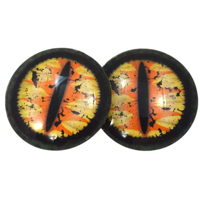 Yellow and Orange Original Fantasy Dragon Glass Eyes 6mm to 40mm Jewelry Art