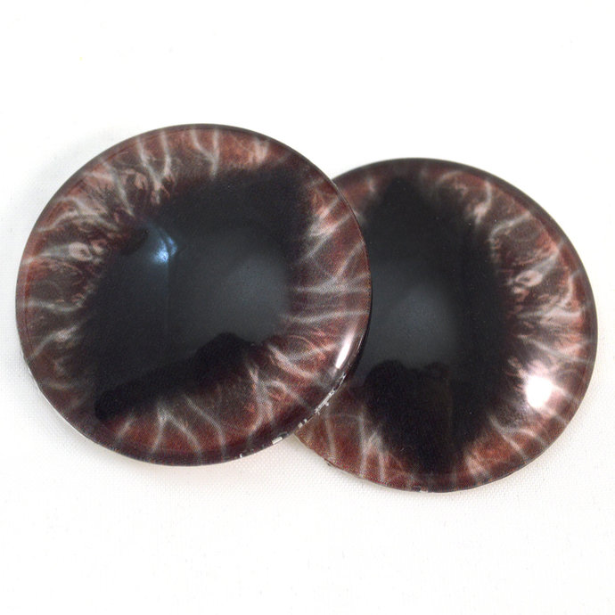 Wide Dark Red Dragon Glass Eyes - 6mm to 40mm Sizes - Jewelry Making Art Dolls