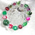Bracelet, stretch, beaded in Festive Holiday Colors of Red and Green with