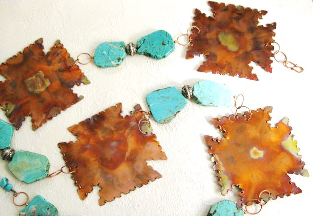 Concho Belt, Copper Crosses with Turquoise Links