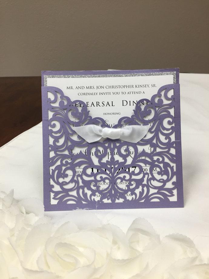 Shimmer Laser Cut Square Invitation with bow - Elegant Square Wedding Laser Cut