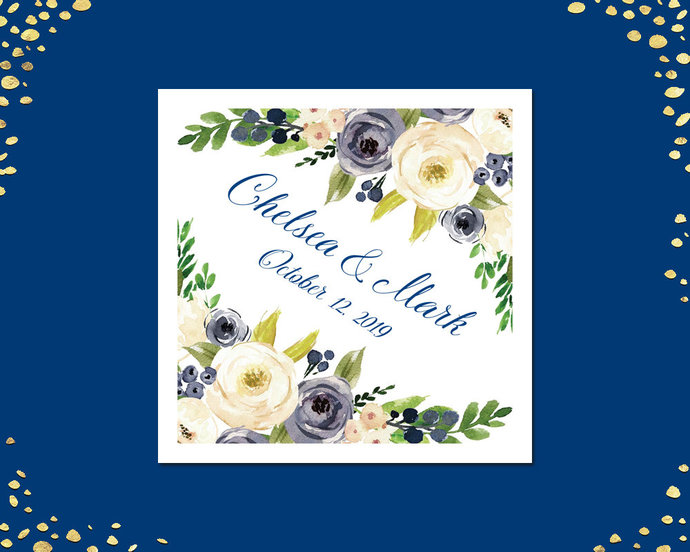 100+ Floral Wedding Napkins, Navy Cream Floral Wedding Napkins, Beverage,
