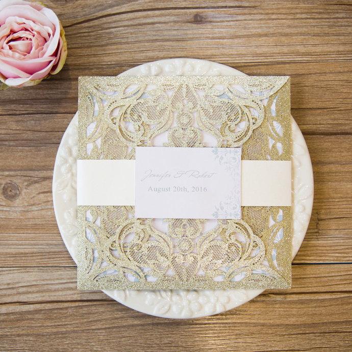 Gorgeous Glitter Laser Cut Wedding Invitations Square Wedding Die Cut Laser Cut