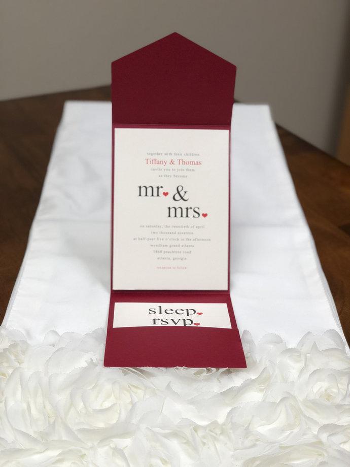 Red Claret Plain Laser Cut Wedding Invitations Die Cut Laser Cut Red Pocket Fold