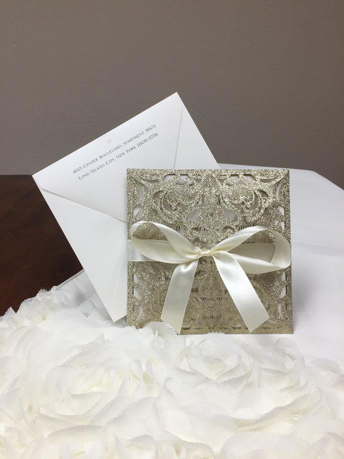 Square Champagne Gold Glitter Laser Cut Wedding Invitations Wedding Laser Cut