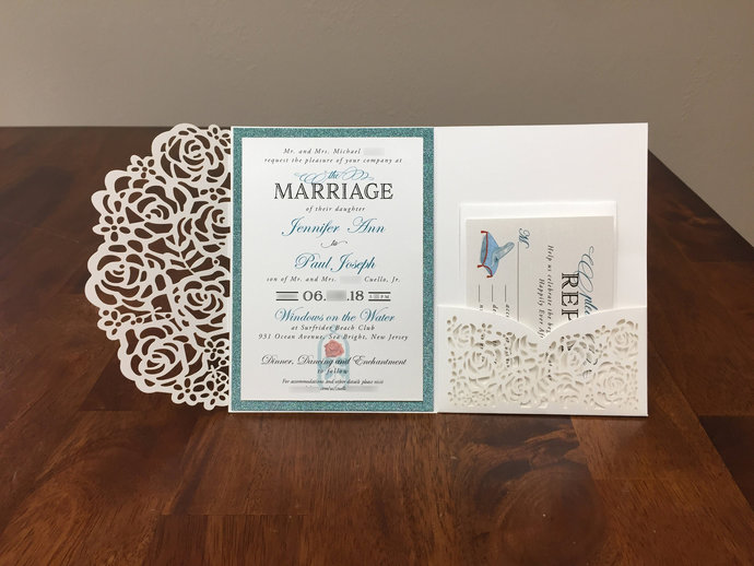 Ivory Shimmer Laser Cut Wedding Invitations with Disney Designs and teal