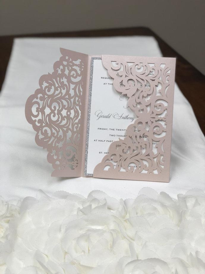 Blush Elegant Laser Cut Wedding Invitations Pocket Wedding invitation Die Cut