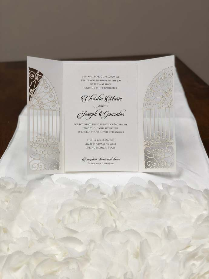 Glitter Gorgeous Door to Happiness Laser Cut Wedding Invitations Pocket Wedding