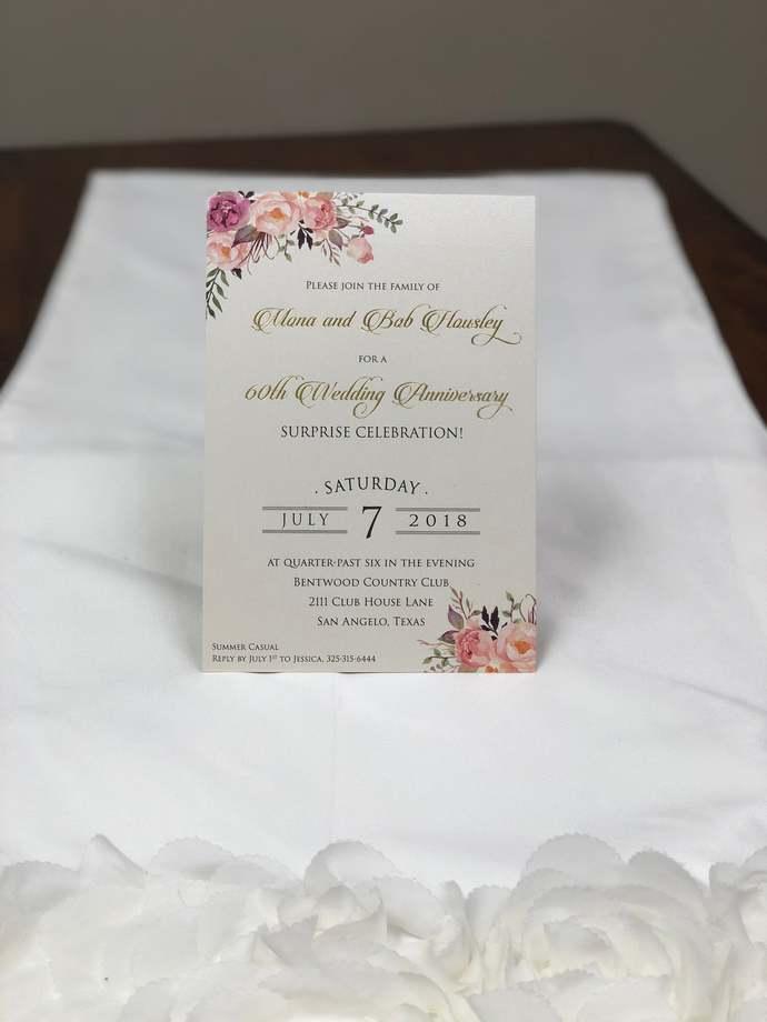 Floral Anniversary Wedding Invitations Rustic Wedding Foil Rustic Kraft Wedding