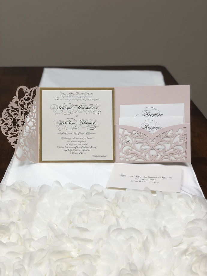 More Colors Gorgeous Laser Cut Wedding Invitations Square Wedding Die Cut Laser