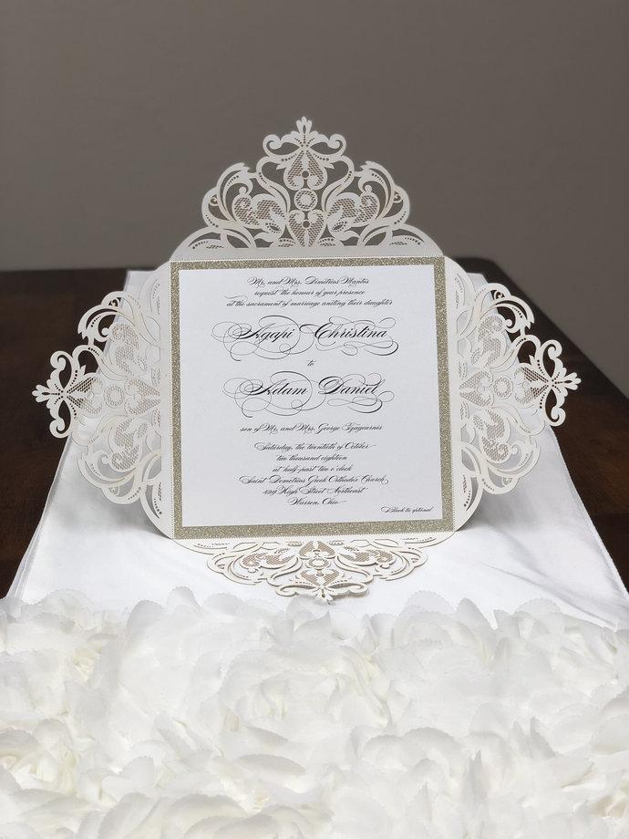 "More Colors Glitter LARGE 7"" x 7 "" Laser Cut Wedding Invitations Square Wedding"