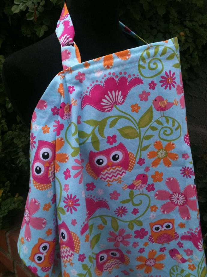 Nursing Cover, Breastfeeding Feeding Cover up, Nursing cover up, Pink Owls