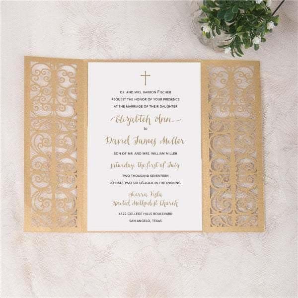 More Colors Laser Cut Wedding Invitation Beautiful Gate Fold Wedding Die Cut