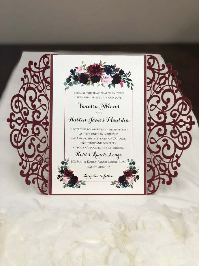 Burgundy Marsala Stock Colors Shimmer Lace Laser Cut Wedding Invitations Die Cut