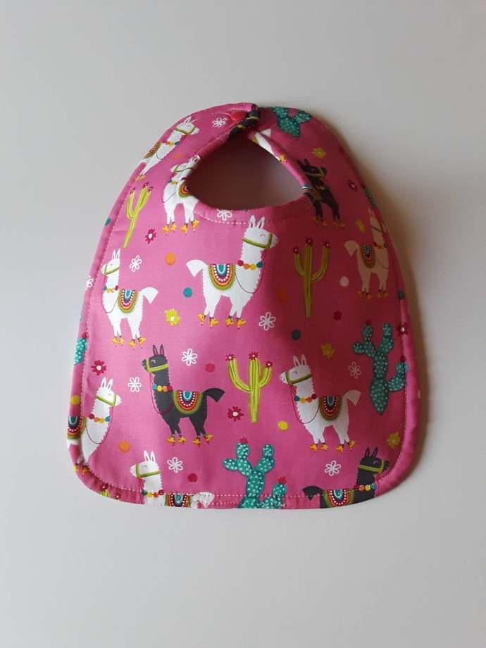 Baby Bib, Pink Llama Baby Bib, Handmade Bib, Drool Bib