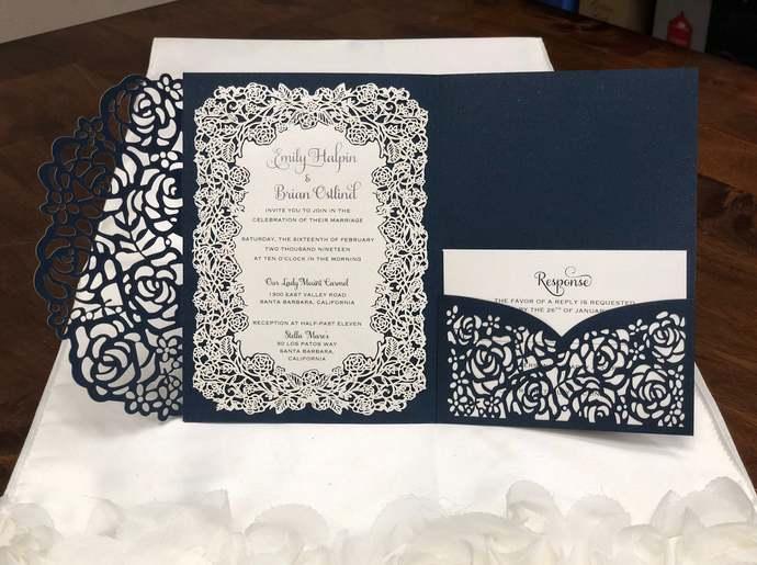 Gorgeous Glittering Navy Shimmer Laser Cut Wedding Invitations Pocket Wedding