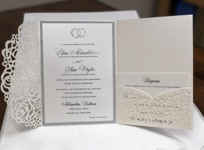 Gorgeous Ivory Shimmer Silver Laser Cut Wedding Invitations Pocket Wedding