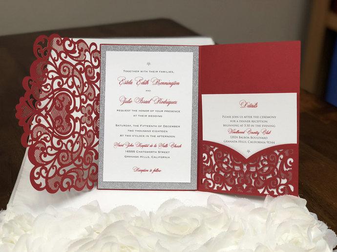 Red Matte Heart Laser Cut Wedding Invitations Pocket Wedding Invitations Die Cut
