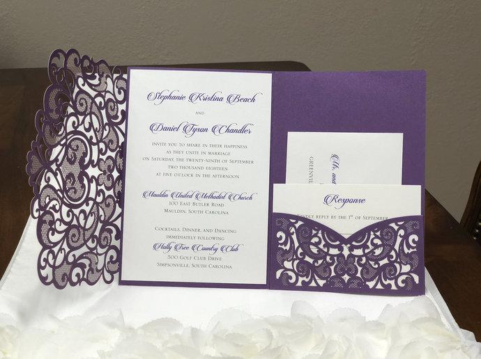 Silver Shimmer Heart Laser Cut Wedding Invitations Pocket Wedding Invitations