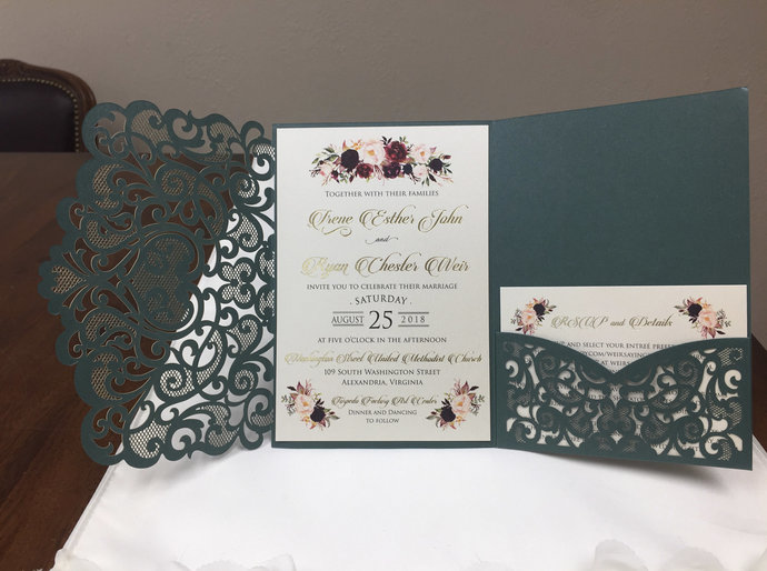 Emerald Green Laser Cut Wedding Invitations Dark Green Pocket Wedding