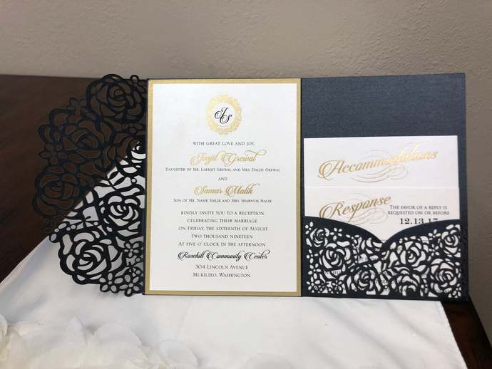 Gorgeous Glittering Black Laser Cut Floral Rose Wedding Invitations Pocket