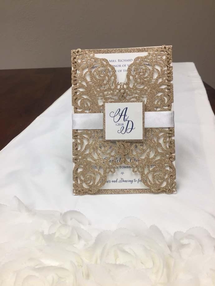 Rose Gold Glitter Laser Cut Wedding Invitations Gold Glitter Wedding Die Cut