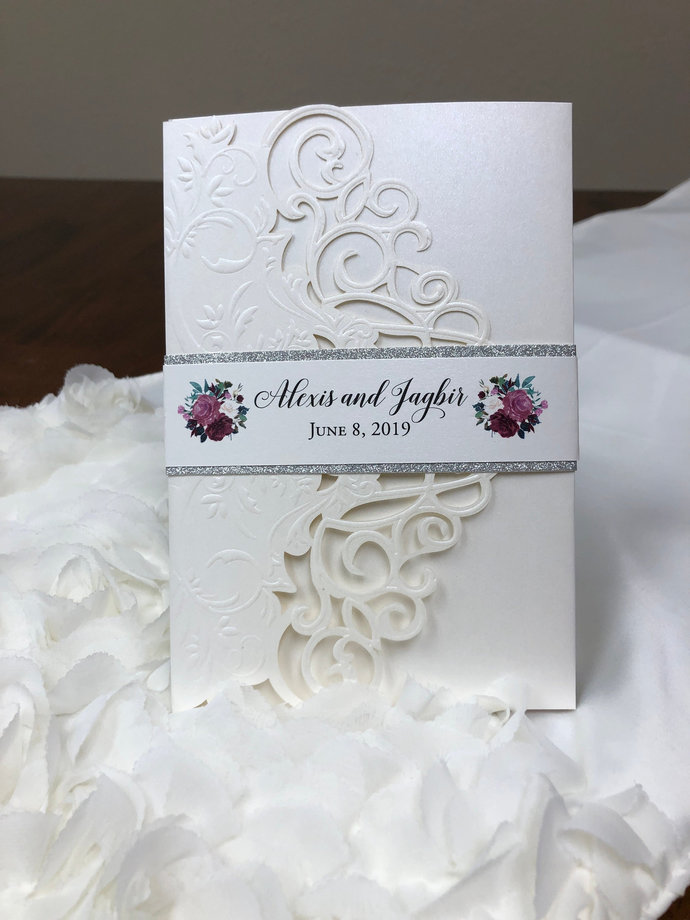 Lace Laser Cut and Embossed wedding invitation Mauve Dusty Rose Purple Tri-fold