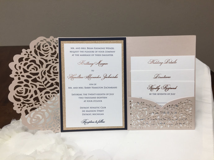 Gorgeous Blush Shimmer Laser Cut Wedding Invitations Pocket Wedding Invitations