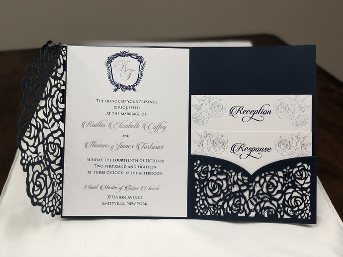 Gorgeous Navy and Silver Laser Cut Wedding Invitations with Floral Design Pocket