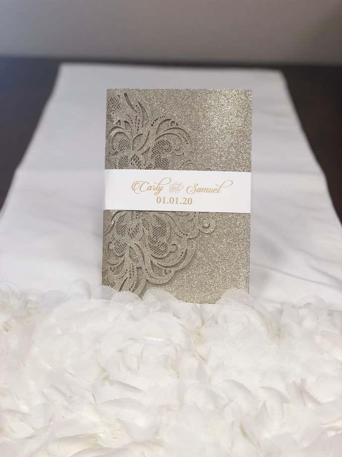 Glitter Tri-fold Damask laser cut wedding invitations glitter pockets glitter