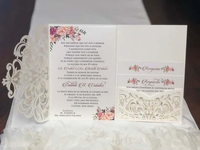 Spanish Invitation Quinceanera Wedding Lace Tri-Fold Laser Cut Wedding