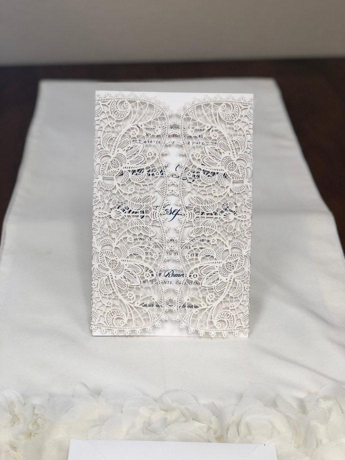 "Bohemian Lace Laser Cut Wedding Invitation LARGE SIZE 5.5"" X 8.5"" A9 Black"