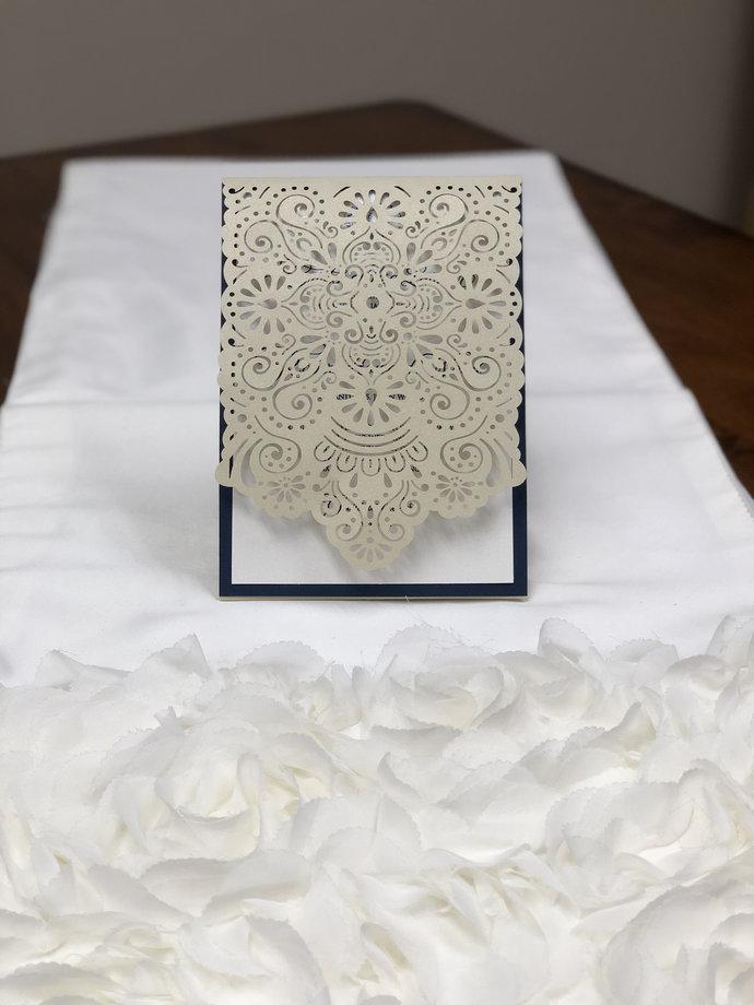 More Colors Mexican Indian Moroccan Mandala Laser Cut Wedding Invitation Pocket