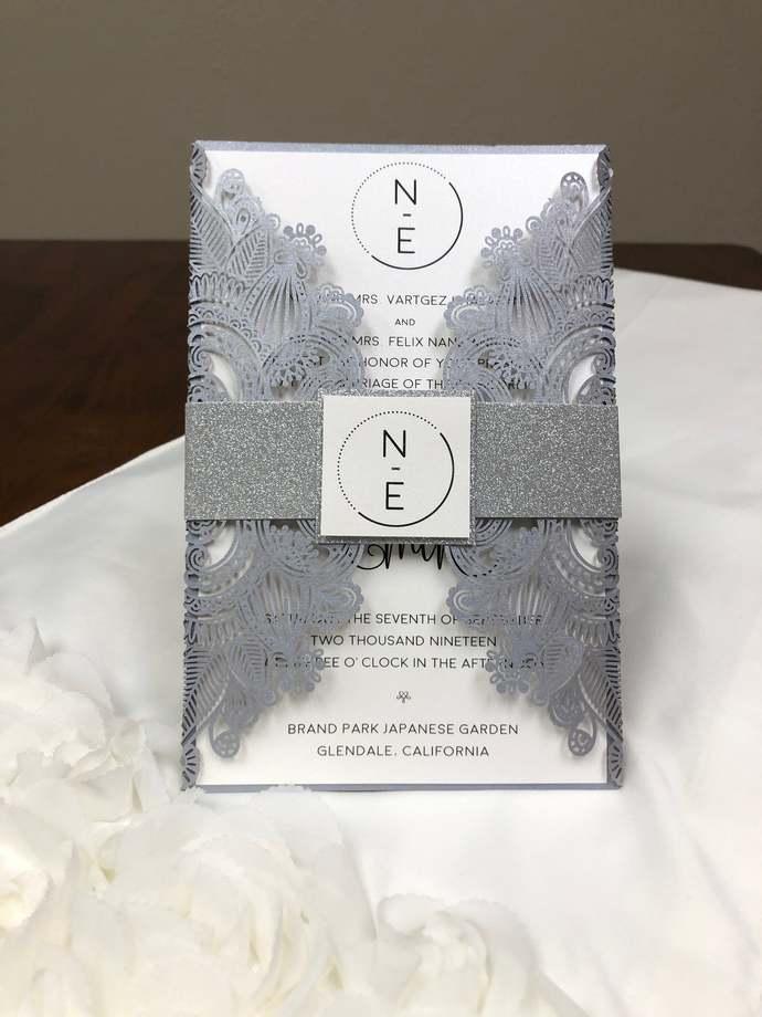 "Masquerade elegant laser cut wedding invitation LARGE SIZE 5.5"" X 8.5"" A9 silver"