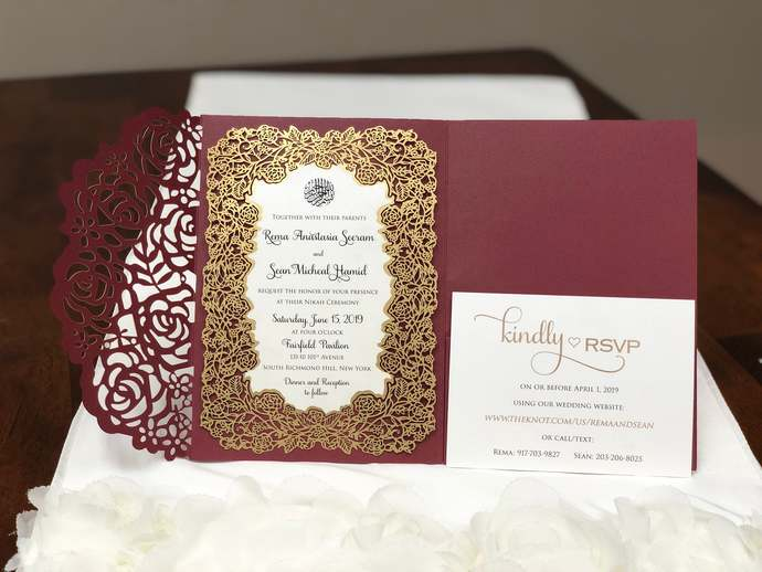 Muslim Wedding Invitation Laser Cut Wedding Invitations Floral Design Pocket