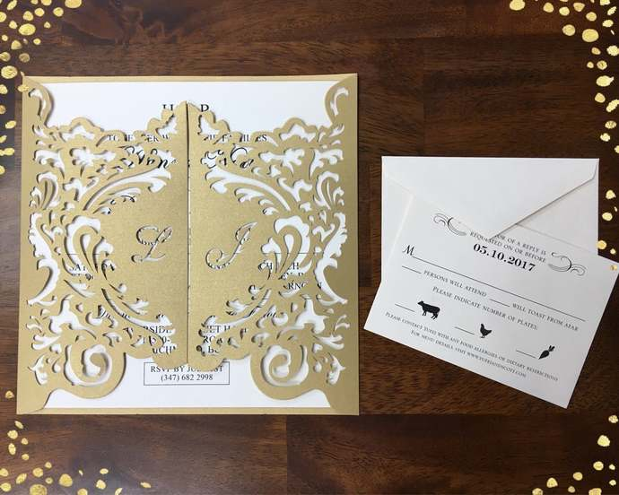 Luxurious XL Personalized Name Laser Cut Invitations Laser Cut Wedding